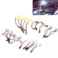 5pcs Bright White COB 18-LED 12V Plate T10 Festoon Dome Car Interior Light Bulb