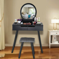 Round Mirror 2 Large Sliding Drawers Makeup Dressing Table with Cushioned Stool