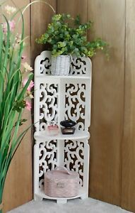 3 Tier White Wooden Corner Shelf Unit Filligree Home Decor Bathroom Storage Unit