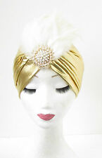Or Blanche Ivoire Plume Turban Coiffe Années 1920 Charleston Vintage Cloche
