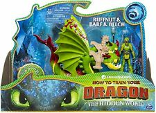 Dreamworks Dragons RUFFNUT & BARF & BELCH with Armored Viking Toy Figure Playset