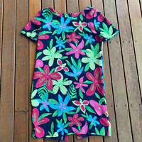 Vintage Floral Shift Dress Size S Hand Made Mini Casual Short Sleeves