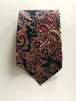 "Vintage 1970's Blue & Red Paisley Satin 4.3"" Mens Tie Resisto BELL CLOTHES SHOP"