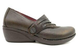 Dansko Brown Leather Slip On Comfort Wedge Loafers Shoes Women's 38 / 7.5 - 8