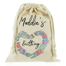 Personalised knitting bag, needles, wool, craft, gift bag Customise with Name