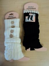 NEW Lot of 2 Ladies Winter Legwarmers Boot Cuffs White Black One Size Cute!