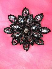 "JB219 Black Zebra Snowflake Applique Jewel Beaded 3"""