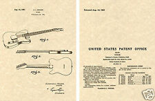 FENDER TELECASTER Patent Art Print guitar READY TO FRAME 1951 Clarence TELE