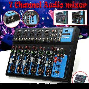 7 Channels bluetooth Audio Mixer  Mixing Console Karaoke Music DJ Studio Stereo