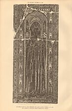 1891 ANTIQUE PRINT- ARCHITECTURE - ESSEX -INCISED SLAB, LADY TYRELL,EAST HORNDON