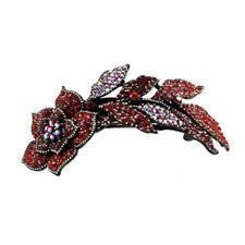 Hair Jewelry Large Crystal Long Stem Rose Barrette, Red / Free Gift Box