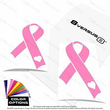 2x Awareness Ribbon Car Vinyl Decal Sticker Heart Breast Cancer Support Troops