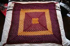 Beautiful Purple and Gold Crocheted Afghan Throw with Tassled Corners 48x48