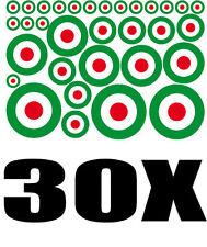 Lot Cocarde ITALIE 30 stickers adhésifs rond 16xØ1cm+6xØ2cm+5xØ3cm+3xØ4cm