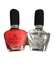 Borghese Nail lacquer Vernis, ColorCapri Coral+Borghese Presto Top Coat,New