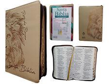 Biblia Letra Grande con Zipper Reina Valera 1960, Indice, Crema con Leon Dorado.