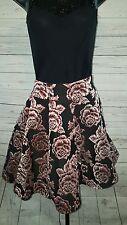 ASOS Metallic Rose Floral Black Asymmetric Hem Skater Skirt UK 12/US 8 #1644