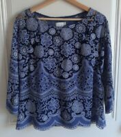 HD In Paris Anthropologie Womens Blue Lace Montmartre Peasant Top Blouse Size 6