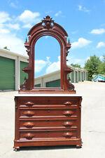 Fancy Walnut Victorian Renaissance Revival Marble Top Dresser w Mirror ~ Ca1870