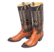 Tall Tutone Brown 60's Dixon Cowboy Boots - Women's Sz 6-1/2B Alligator Toe Vtg