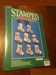 Bernat Stamped Christmas Stockings MUSICAL Cross Stitch Kit  NIP Sealed