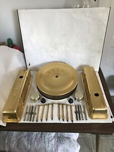 MOROSO GOLD VALVE COVERS & AIR CLEANER 350 CHEVY 327 283 SBC SMALL BLOCK CHEV