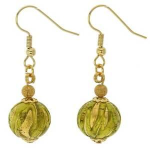 GlassOfVenice Murano Glass Royal Herb Green Ball Earrings