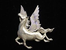 """JJ"" Jonette Jewelry Silver Pewter 'Majestic Up-Winged PEGASUS' Pin Flying Horse"