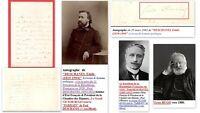"""Autographe DESCHANEL Emile (1819-1904) Ecrivain, """"HUGO"""" parrain de son fils Paul"""