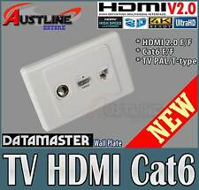 3Port HDMI V2.0 /1.4 Gold Plated, PAL TV, Cat6 Datamaster Wall Plate *45%off*