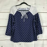 Isaac Mizrahi Live Womens Contrast Polka Dot Knit Peasant Top Stretch Blue Small