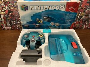 Nintendo 64 N64 Game Console & Controller Ice Blue Funtastic W/ Box - Authentic