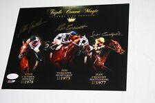Triple Crown Signed Auto 8x10 Horse Racing Photo Turcotte Cruget Cauthen Jsa