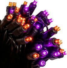 70 LED Orange & Purple String Lights on Black Wire - Indoor/Outdoor - Halloween