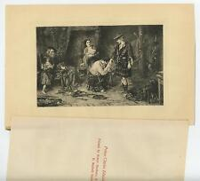 ANTIQUE PRINCE CHARLES EDWARD IN SHELTER KILT COTTAGE ETCHING OLD ART PRINT