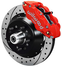 "WILWOOD DISC BRAKE KIT,FRONT,64-74 GM,14"" DRILLED ROTORS,6 PISTON RED CALIPERS"