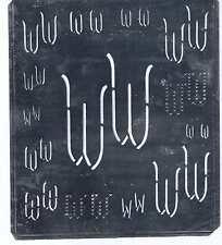 Große Monogramm Schablone  WW   Jugendstil Weißblech 16,5 x 18 cm Weissstickerei