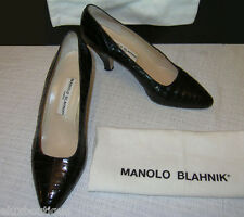 MANOLO BLAHNIK Crocodile SHOES Classic Black Pumps 3 1/4 Inch Heels 9.5 9 AsNEW!