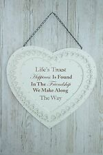 Heart Plaque Friendship We Find Along The Way Sign White Wood Lace 51cm F1665A