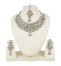 INDIAN FASHION RODIUM WHITE WEDDING BRIDAL JEWELRY NECKLACE SET