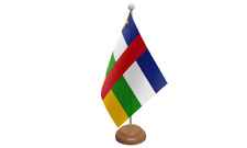 "Central African Republic Table Desk Flag & Wooden Base 9"" x 6"""