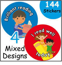144 lettura Award per Bambini Adesivi Ricompensa - 30mm-scuole, insegnanti, genitori
