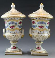 C1900 German Dresden Diminutive Porcelain Pair of Covered Cabinet Urns Floral
