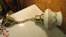 Antique Brass Pendant Light Fixture & Art Nouveau Globe