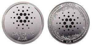 1.2 oz Physical Cardano ADA Iron Coin Token Round Chip Crypto Silver Color 44mm