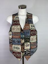 Vintage Black License Plate Vest US States America Embroidered