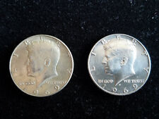 1969 KENNEDY LIBERTY HALF DOLLAR SILVER COIN  -  LOT OF 2