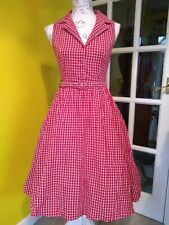 Lindy Bop Matilda Red Check Shirt Swing Dress Size 8