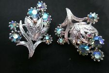 Vintage Coro Earrings Aurora Borealis ab Crystal flower Clip On #jewelry