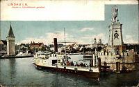 Schiffe ~1910 Lindau Bodensee Hafen Dampfschiff Leuchtturm Lighthouse alte AK